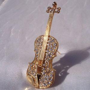 Swarovski CELLO Crystal BASS Brooch Instrument PIN